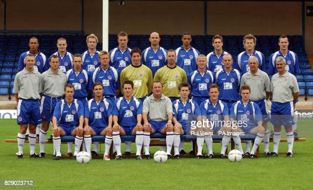 Chesterfield Football Club front row Andy Rushbury Chris Brandon Mark Hudson Roy McFarland Mark Innes Stephen Warne Mark Smith middle row Jamie...