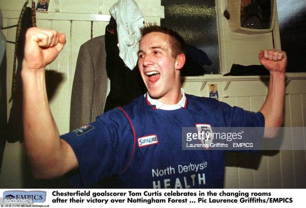 Chesterfield goalscorer Tom Curtis celebrates in the changing rooms after their victory over Nottingham Forest