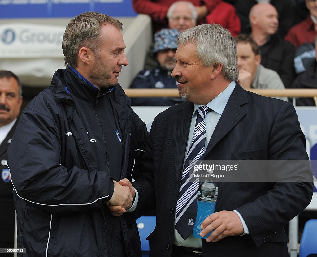 Chesterfield manager John Sheridan greets Southend manager Paul Sturrock before the npower League Two match between Chesterfield and Southend United...