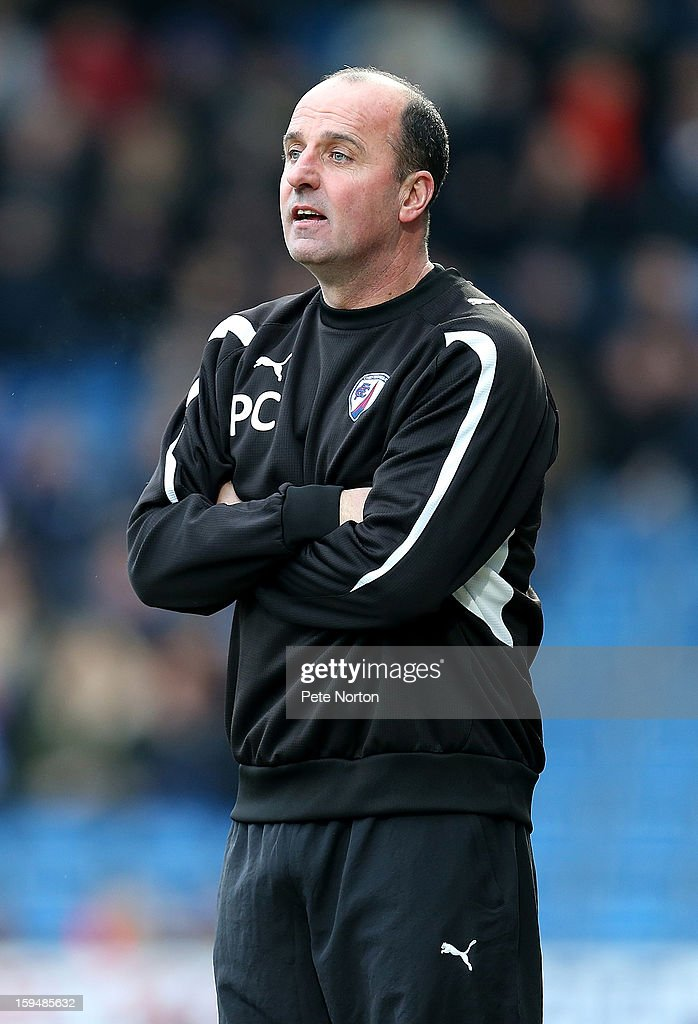 Chesterfield manager Paul Cook looks on during the npower League Two match between Chesterfield and Northampton Town at the Proact Srtadium on January 12, 2013 in Chesterfield, England.