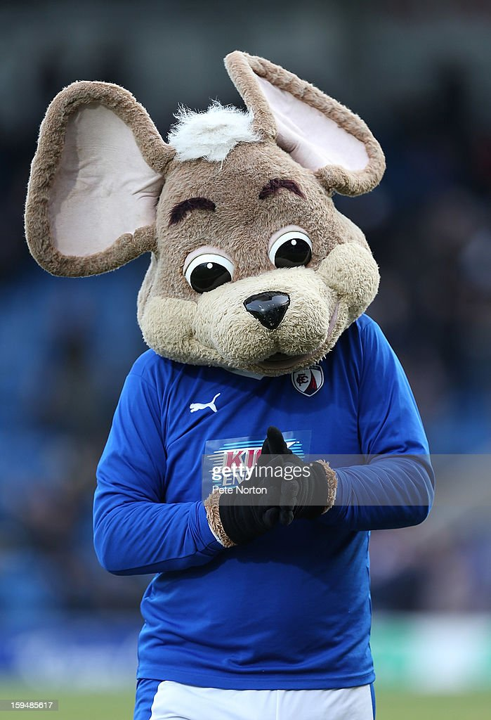 Chesterfield mascot Chester Fieldmouse looks on prior to the npower League Two match between Chesterfield and Northampton Town at the Proact Srtadium on January 12, 2013 in Chesterfield, England.