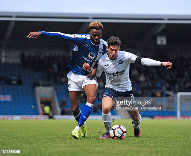 Chesterfield's Gboly Ariyibi vies for possession with Wycombe Wanderers' Joe Jacobson during the Emirates FA Cup Second Round match between...