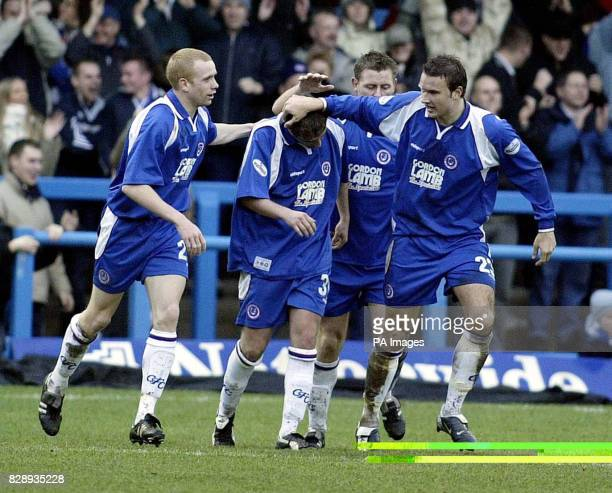Chesterfield's Jamie McMaster is congratulated by teammates after scoring against QPR during their Nationwide Division Two match at the Recreation...