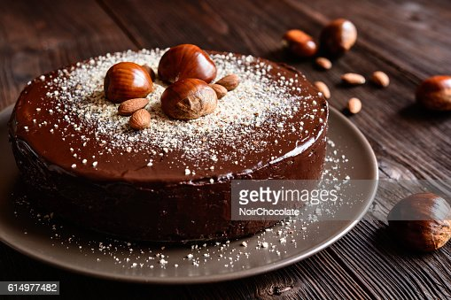 Chestnut cake with almonds and chocolate : Stock Photo