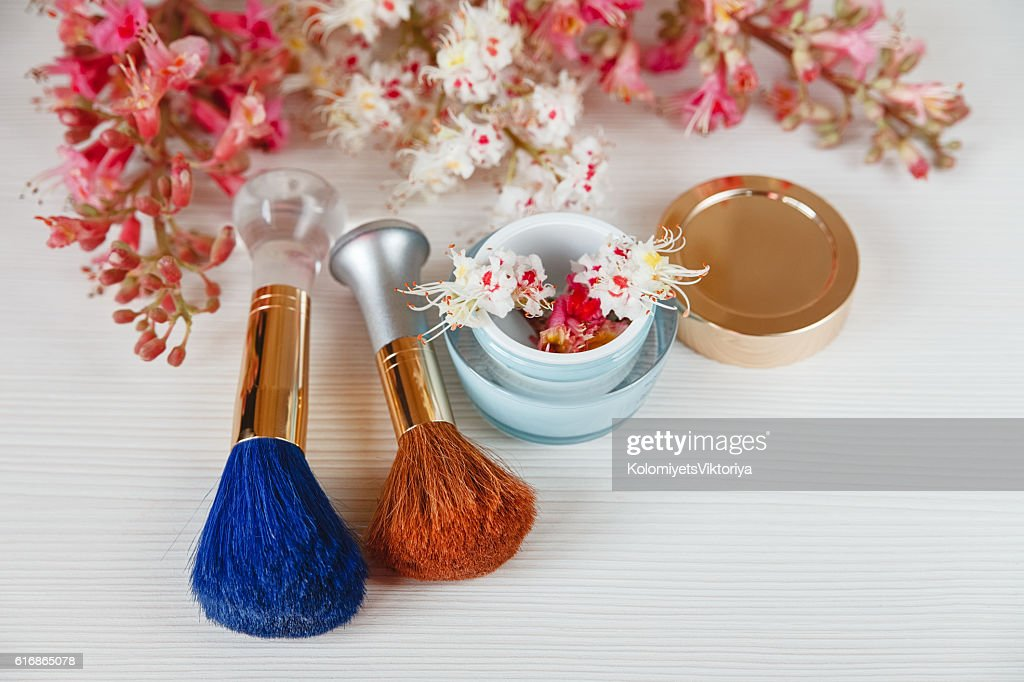 Chestnut Tree,Brushes,Bottle Cream are on White Table : Stock Photo