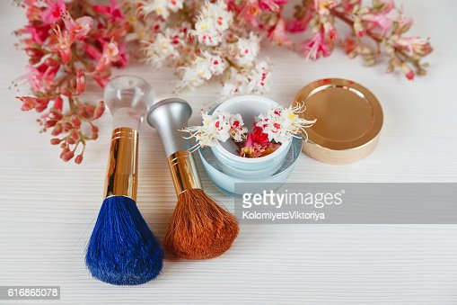 Chestnut Tree,Brushes,Bottle Cream are on White Table : Stock Photo