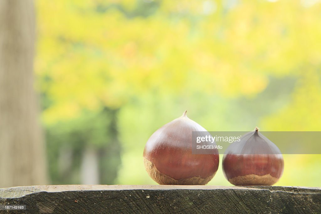 Chestnuts on wooden table