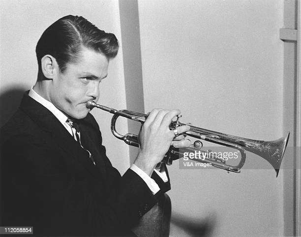 Chet Baker posed with trumpet 1955