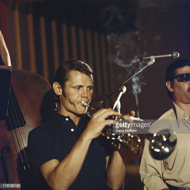Chet Baker US jazz trumpeter playing the trumpet during a live concert performance at the Blue Note club in New York City New York USA in 1974 Baker...