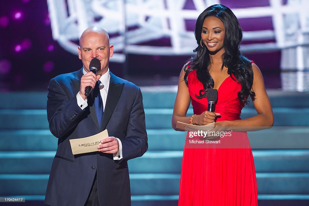 Chet Buchanan (L) and Miss USA 2012 <a gi-track='captionPersonalityLinkClicked' href=/galleries/search?phrase=Nana+Meriwether&family=editorial&specificpeople=4594046 ng-click='$event.stopPropagation()'>Nana Meriwether</a> host the 2013 Miss USA pageant preliminary competition at PH Live at Planet Hollywood Resort & Casino on June 12, 2013 in Las Vegas, Nevada.