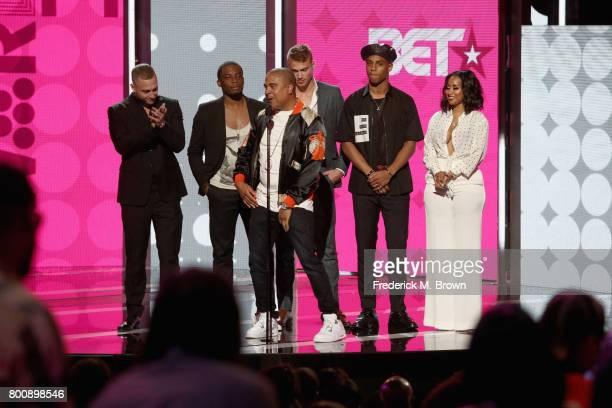 Chet Hanks Woody McClain Irv Gotti Matthew Noszka Keith Powers and Tammy Rivera speak onstage at 2017 BET Awards at Microsoft Theater on June 25 2017...