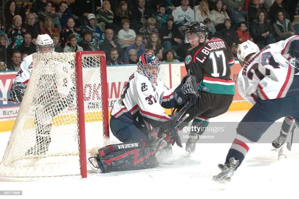Chet Pickard of the Tri City Americans makes a save from Lucas Bloodoff of the Kelowna Rockets at the Kelowna Rockets on November 19 2008 at Prospera...