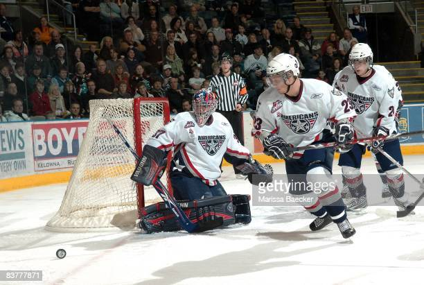 Chet Pickard Tyler Schmidt and Brendan Shinnimin of the Tri City Americans skate against the Kelowna Rockets on November 19 2008 at Prospera Place in...
