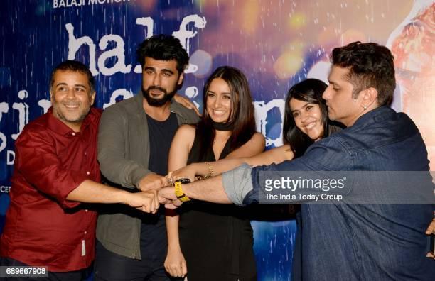 Chetan Bhagat Arjun Kapoor Shraddha Kapoor Ekta Kapoor and Mohit Suri during a success party of the film 'Half Girlfriend' in Mumbai