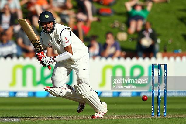 Cheteshwar Pujara of India bats during day one of the 2nd Test match between New Zealand and India on February 14 2014 in Wellington New Zealand
