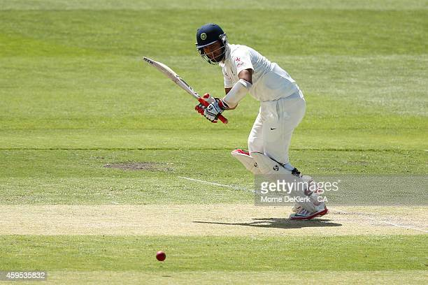 Cheteshwar Pujara of India bats during day two of the tour match between CA XI and India at Gliderol Stadium on November 25 2014 in Adelaide Australia