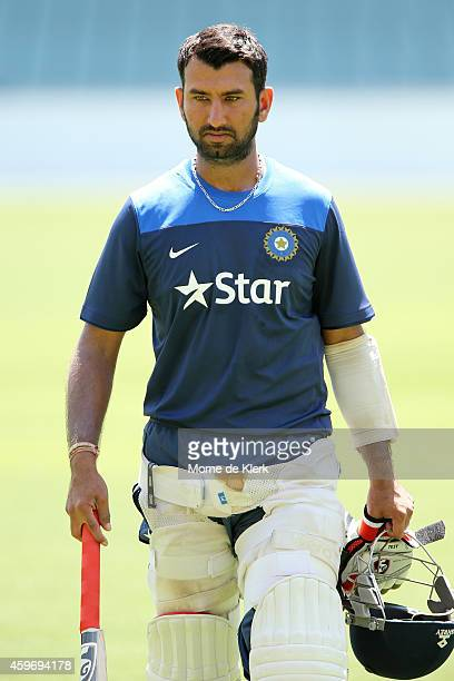 Cheteshwar Pujara of India looks on during an India training session at Adelaide Oval on November 29 2014 in Adelaide Australia