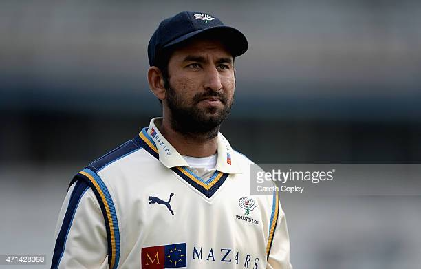 Cheteshwar Pujara of Yorkshire during day three of the LV County Championship Division One match between Yorkshire and Warwickshire at Headingley on...