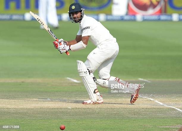 Cheteshwar Pujara plays to squareleg during day 3 of the 1st Test match between South Africa and India at Bidvest Wanderers Stadium on December 20...