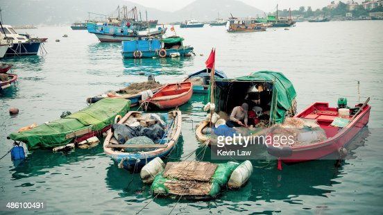 Cheung Chau Island with boats and fisherman