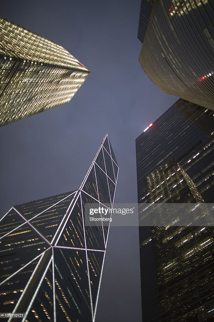 Cheung Kong Center, clockwise from top left, Citibank Tower, ICBC Tower and Bank of China Tower stand in the central business district of Hong Kong, China, on Friday, Jan. 4, 2013. Hong Kong topped the ranks as the most expensive office market by total occupancy cost, according to a report by CBRE Research released on Jan. 7. Photographer: Jerome Favre/Bloomberg via Getty Images