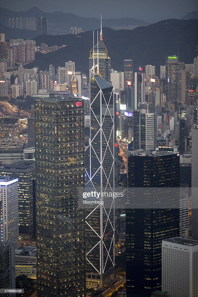Cheung Kong Centre from left the Bank of China Tower and the Citibank Plaza stand in the business district of Central in Hong Kong China on Thursday...