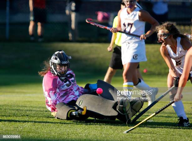 Cheverus vs Westbrook field hockey on Wednesday October 18 2017 Paige DeGeorge of Cheverus right watches as teammate Kat Kane makes a glove save from...