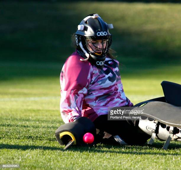 Cheverus vs Westbrook field hockey on Wednesday October 18 2017 Cheverus senior goalie Kat Kane makes a glove save from the ground after an initial...