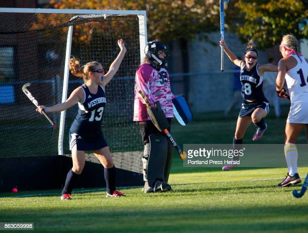 Cheverus vs Westbrook field hockey on Wednesday October 18 2017 Westbrook teammates Morgan LeBeau left and Katelyn Champagne celebrate after Mary...