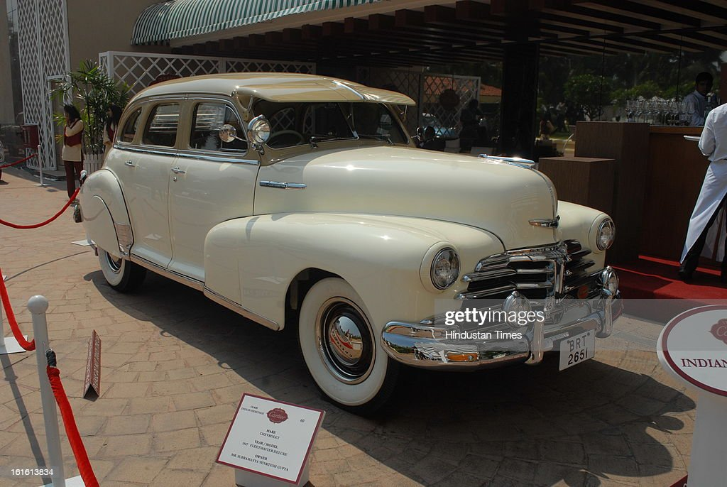 Chevrolet 1947 Fleetmaster Deluxe Vintage car taking part in Third Cartier Travel With Style Concours D'Elegance Vintage car show at 2013 Taj Lands End on February 10, 2013 in Mumbai, India.