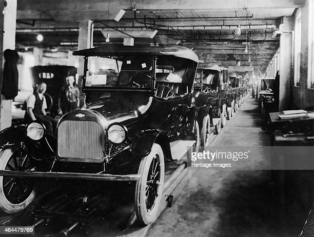 Chevrolet 490 cars on production line c1920 A long line of the cars apparently completed The Chevrolet 490 was designed to challenge the Model T Ford...