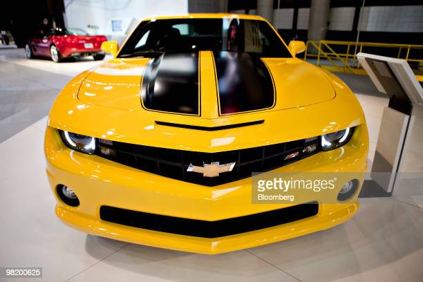 Chevrolet Camaro 2SS sits on display during a media preview of the New York International Auto Show in New York US on Thursday April 1 2010 The show...