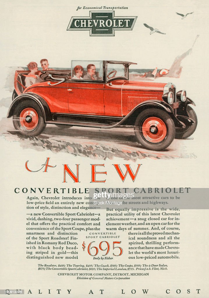 """A Chevrolet Convertible Sport Cabriolet is pictured in a magazine advertisement dated 1928 The ad describes the car as """"a vivid dashing twofour..."""