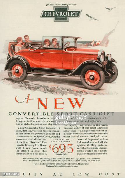 "A Chevrolet Convertible Sport Cabriolet is pictured in a magazine advertisement dated 1928 The ad describes the car as ""a vivid dashing twofour..."