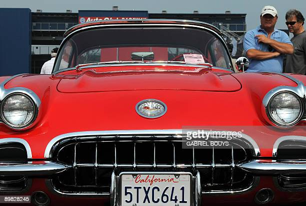 A Chevrolet Corvette is on display at Pomona's antique automobile market on August 16 2009 Once a month collectors and enthusiasts can sell and buy...