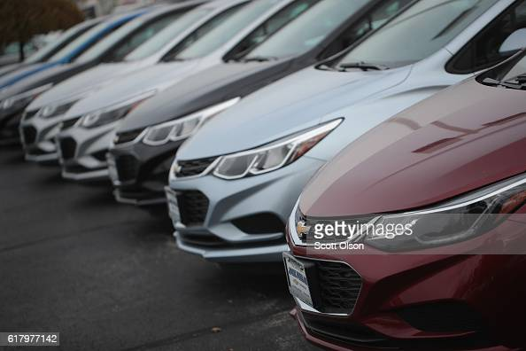 Chevrolet Cruze cars are offered for sale at Jack Phelan Chevrolet on October 25 2016 in Lyons Illinois General Motors Co doubled net income to a...