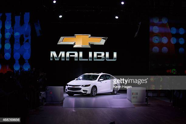 Chevrolet introduces its new Malibu and Hybrid Malibu models at the New York International Auto Show at the Javits Center on April 1 2015 in New York...