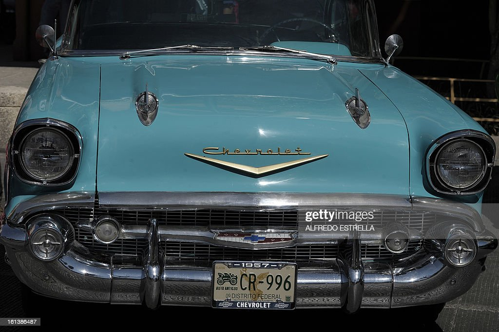 Chevrolet is seen during a Classic Cars exhibit at the Revolution Monument in Mexico City, on February 10, 2013. It is the first time classic cars are showed in an exhibit for general public in Mexico City. AFP PHOOTO/Alfredo Estrella