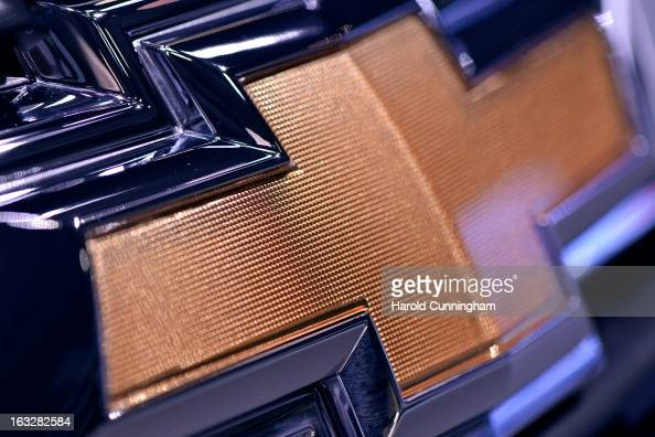 Chevrolet logo is seen during the 83rd Geneva Motor Show on March 6 2013 in Geneva Switzerland Held annually with more than 130 product premiers from...