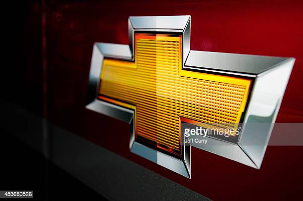 Chevrolet logo is seen in the garage area during practice for the NASCAR Sprint Cup Series Pure Michigan 400 at Michigan International Speedway on...