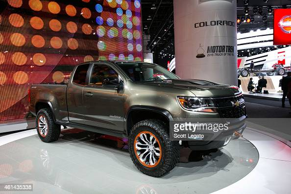 Chevrolet reveals the new Colorado to the media at the 2015 North American International Auto Show at Cobo Center on January 12 2015 in Detroit...