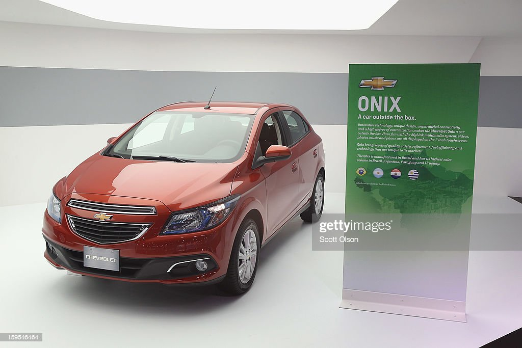 Chevrolet shows off their Onix, which is made in Brazil for the South American market, during the media preview at the North American International Auto Show on January 15, 2013 in Detroit, Michigan. The car was part of a display of vehicles Chevrolet offers for markets outside of the United States. The auto show will be open to the public January 19-27.