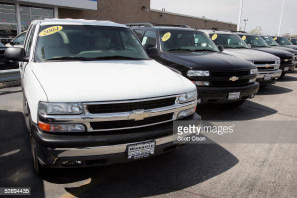 Chevrolet Tahoe sport utility vehicles sit on the lot of a suburban Chicago dealership April 25 2005 in Schaumburg Illinois General Motors announced...