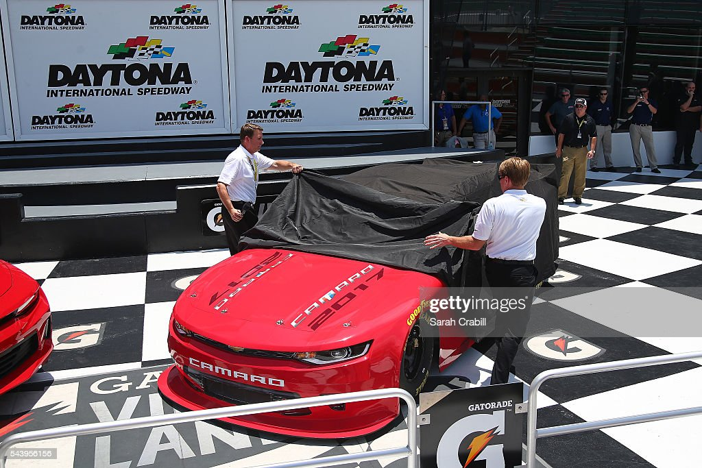 Chevrolet unveils the 2017 NASCAR XFINITY Series Camaro SS during practice for the NASCAR Sprint Cup Series Coke Zero 400 at Daytona International Speedway on June 30, 2016 in Daytona Beach, Florida.