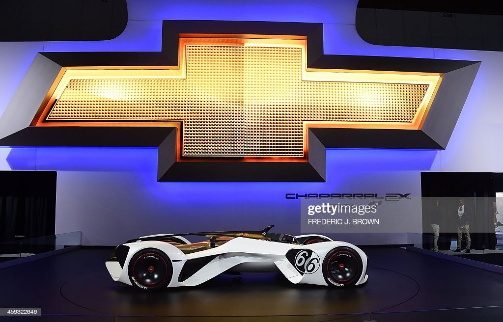Chevrolet's concept Chaparral 2X Vision is displayed at the LA Auto Show's press and trade day in Los Angeles California on November 20 2014 The LA...