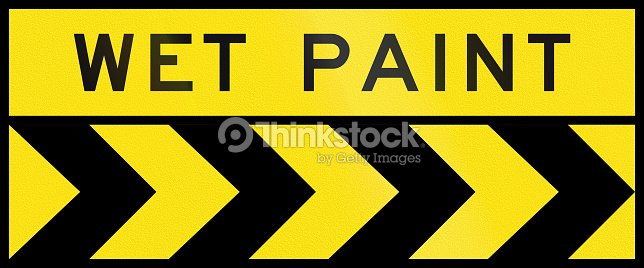 Chevron Alignment To The Right Wet Paint In Australia Stock Photo