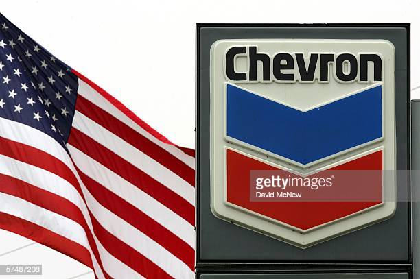 Chevron gas station sign is seen near the companys El Segundo Refinery while their profits rise and the local price of gas hovers well above the $3...