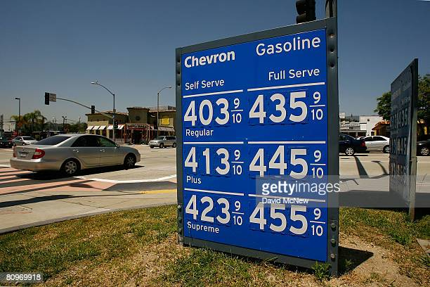 Chevron price marquee shows an increase in gasoline prices on May 2 2008 in Pasadena California Chevron Corp's first quarter profits have skyrocketed...