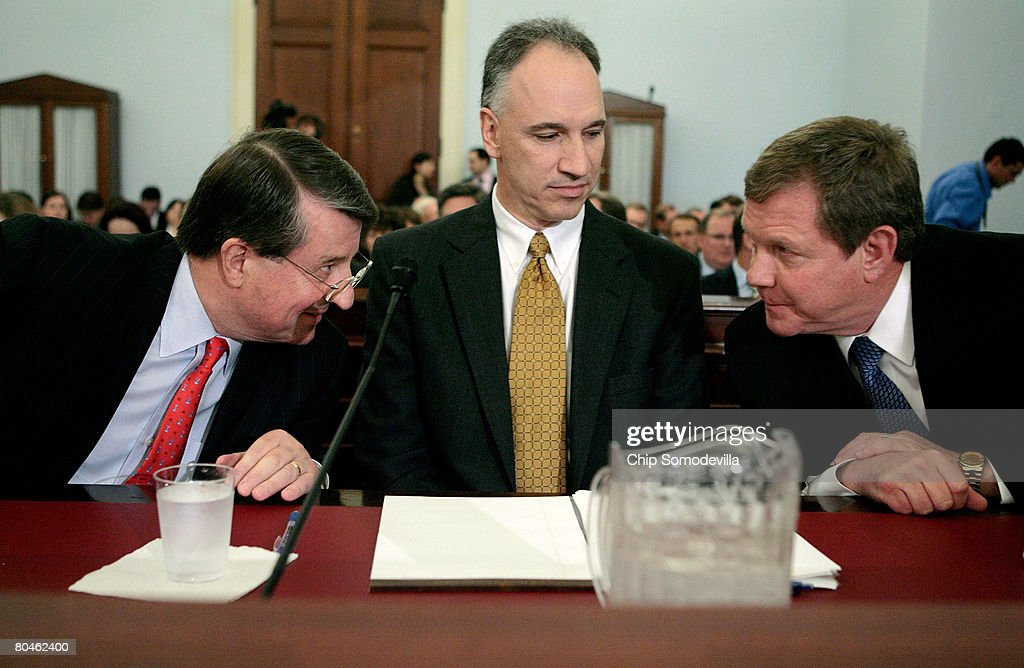 Chevron Vice Chairman Peter Robertson, ConocoPhillips Executive Vice President John Lowe, and BP America Chairman and President Robert Malone prepare to testify before the House Select Energy Independence and Global Warming Committee on Capitol Hill April 1, 2008 in Washington, DC. In the face of record gasoline and oil prices, the committee called into question the record profits posted by the five largest American oil companies and their commitment to developing clean and renewable fuels.