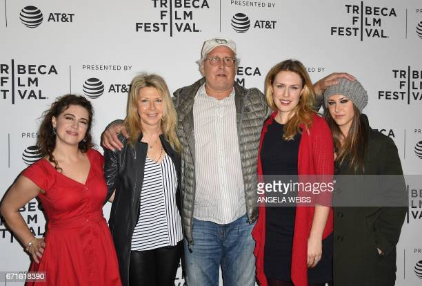 Chevy Cahse and his family attend the 'Dog Years' premiere during 2017 Tribeca Film Festival at Cinepolis Chelsea on April 22 2017 in New York City /...